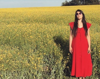 VINTAGE Red  || M Collection || 1990s Maxi Dress
