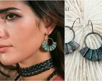 Vintage Style Patina Boho Fan Drop Earrings
