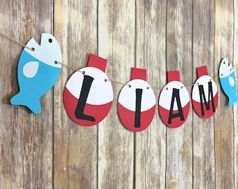 Fishing Bobber Name Banner, Fish Party, Birthday Decor, First Birthday, Photo Prop