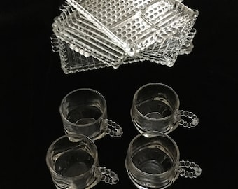 Mid-Century Set of 4 Snack Trays with Cups in Ball & Ribbed Design by Hazel-Atlas