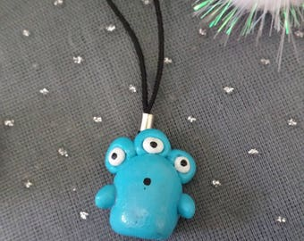 Turquoise Monster phone charm