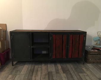 Industrial red sideboard Cabinet