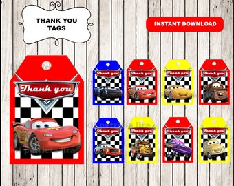 Disney Cars 3 Thank you Tags instant download , Cars 3 Thank you Tags, Printable Cars tags