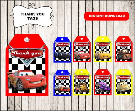 Disney Cars 3 Thank You Tags Instant Download Cars 3 Thank