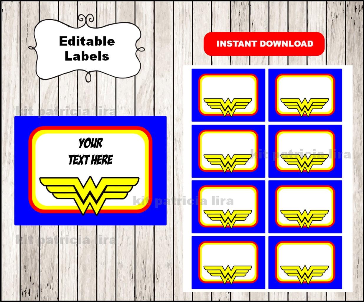 Wonder Woman Logo School Label Name Label Name Tag Sticker-3828