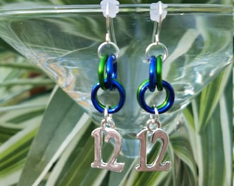 Number 12 Hoop Earrings