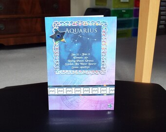 Aquarius Horoscope Birthday Card - Zodiac/Star Sign -luxury personalised unique quality special astrological UK