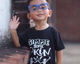 Gimme some skin, Skelton shirt, Halloween shirt, funny halloween shirt, funny boy shirts, toddler boy, toddler girl, toddler shirt