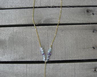 Fluorite Y Necklace