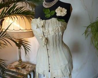 1910 Antique Corset, Edwardian Corset, antikes Korsett, corset ancienne