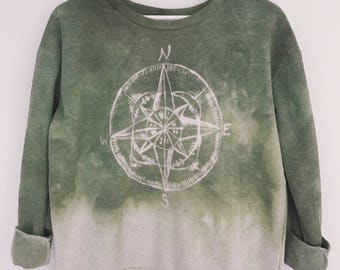 Luna Luxe // ombré green dip dye tie dye sweatshirt sweater size S small boho compass hand painted