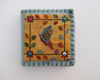 Needle Book/Needle Holder/ Needle Case/Mustard Butterfly