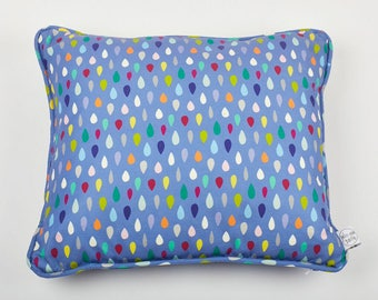 Abstract Geometric Blue Purple Raindrop Multicoloured Cushion with piping