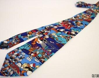 Vintage Disney DuckTales Donald Duck, Scrooge McDuck, Huey, Dewey, and Louie Duck Silk Necktie
