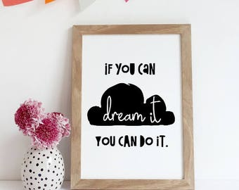 Motivational Quote SALE motivational nursery Print Inspirational Wall Art Positive Quote you can do it Monochrome Print Office Decor, studio