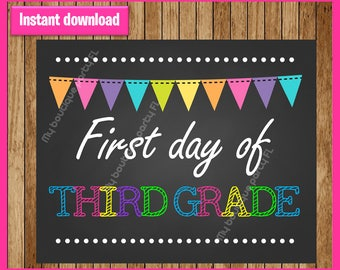 Third Grade 2017 Sign, First day of school sign printable, School Printable Sign, First day of 3rd Grade, Third Grade