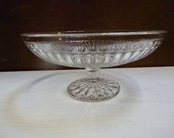 Lovely Art Deco Pressed/Moulded Glass Cake Stand/Muffins/Sweets/Fruit/Vintage/1940s