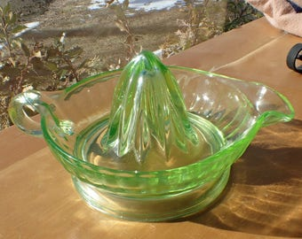 Vaseline Glass Uranium Juicer Reamer, Light Green, Art Deco 1930s, Handle & Pour Spout, Retro Glows in Dark under Black Light