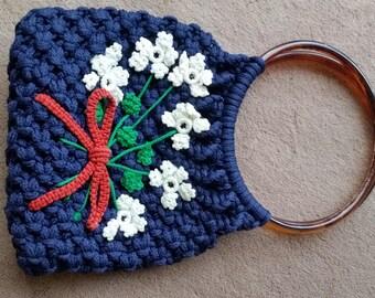 Hand made macrame purse