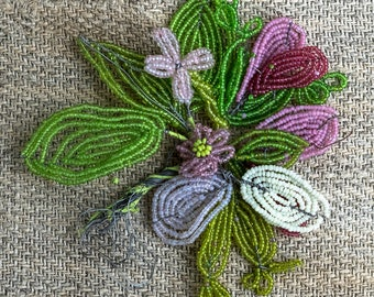 Antique FRENCH glass beaded flowers,sprays,leaves - available as single items or complete set - jewelry, crafts, millinery
