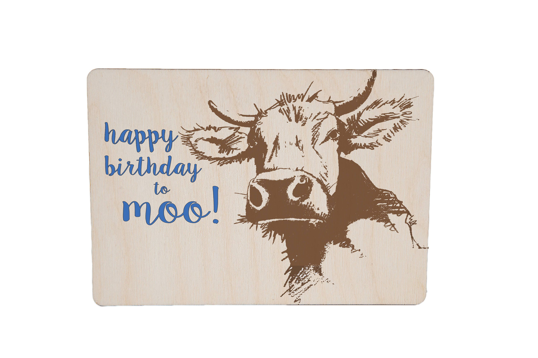 Happy Birthday To Moo Wooden Birthday Postcard TreeMail