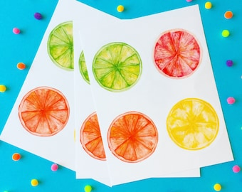 Summer Citrus Sticker Set | Watercolor Fruit Envelope Seals / Journal Embellishement