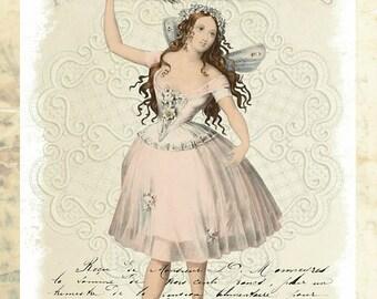 Vintage Fairy, Collage Altered Art Ephemera Altered Art, Instant Download, Digital Original Sheet