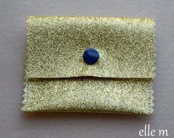 Mini Navy glitter fabric with snap case