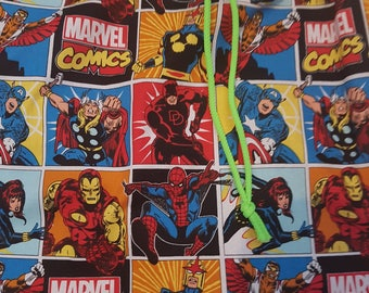 Children's  marvel super heroes  drawstring tote pajamas/sleep over  bag