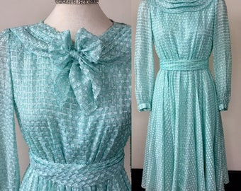 Shimmery Mint Picnic Dress
