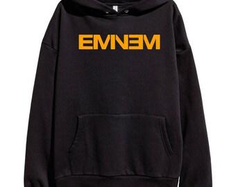 Eminem Orange Logo Hoodie Classic Hip Hop Rap Vintage Style Sweatshirt Revival Slim Shady Records Aftermath Entertainment Detroit