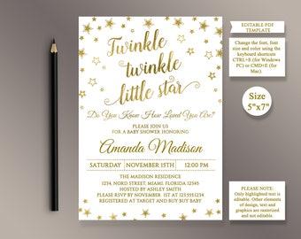 EDITABLE Baby Shower Invitations, Twinkle Twinkle Little Star, Gold Baby Shower invite, Digital Printable Invitation template, Editable PDF
