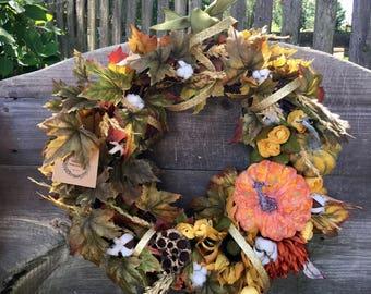 Fall wreath pumpkin wreath autumn wreath cotton wreath leaves wreath sunflower wreath fall decor