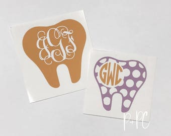 Dentist Monogram Decal, Tooth Decal, Dental Assistant