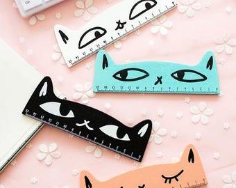 Wooden cat design ruler