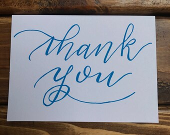 THANK YOU handwritten card in Neon gel pen ink- available in set- classic simple design- modern calligraphy- blank on inside- with envelope