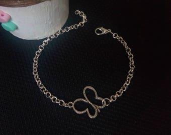 silver link bracelet,simple charm bracelet,butterfly bracelet,women,simple,kids