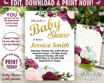 INSTANT DOWNLOAD / edit yourself now / Fall / Baby shower / invitation / invite / Floral / Flowers / Pumpkin /rose wine burgundy blush BSFL2