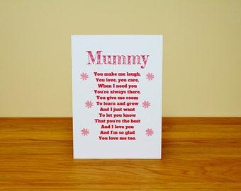 cute mummy card, mummy birthday card, mummy card, pink mummy card, mummy mother's day, mummy poem card , poem for mummy, special mummy card