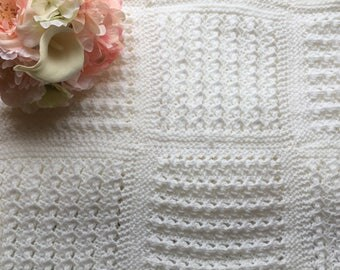 White Knit Baby Blanket