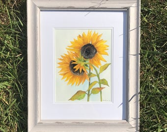 Sunflowers painting, original framed painting, original art, watercolor sunflowers, original artwork, sunflower art, framed watercolor,