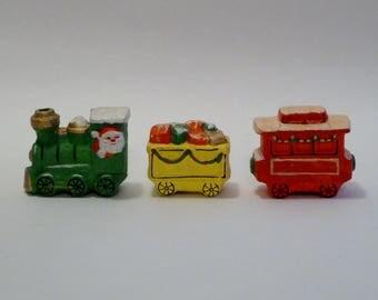 Vintage Train figurines/Santa Engineer/Christmas train 3-piece set/Japan RB/1950's 1960's/Choo Choo Train/Knick knack/Japanese Christmas