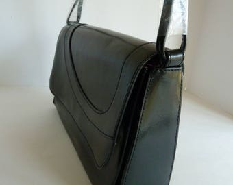 New Leather Shoulder bag Susan Lucci/Black with Pink Lining and faux diamond/Wrapped strap/flap over magnetic closure/classic career purse