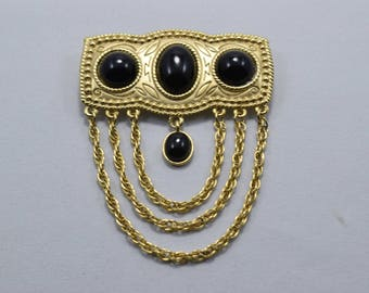 Vintage Gold Pewter Cabachon Stone Bar Brooch With Chains, Black Cabachon Resin Stones, vintage brooches