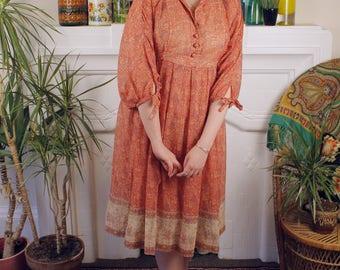 Lady Jane c. 1970's Liberty Print Ethnic Bohemian Gypsy Hippie Dress