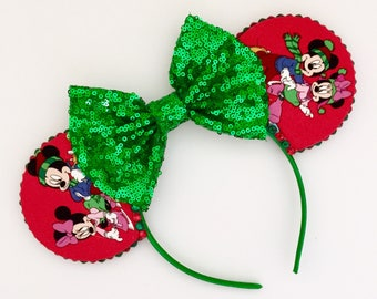 The Very Merry Christmas - Handmade Mickey & Minnie Mouse Christmas Inspired Mouse Ears Headband