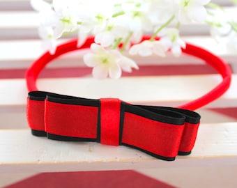 Headband for Newborn, Baby Girl, Toddler | Black and Red Headband |