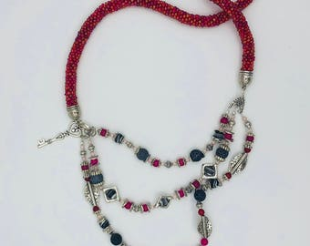 Brightly colored beady necklace