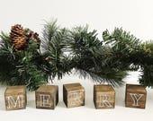 Mini Block, Block Decor, Wood Decor, Wood Art, Holiday Decor, Christmas Decor, Christmas Vignette, Farmhouse Decor, Rustic Decor, Merry