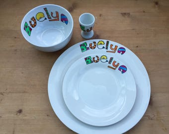 Hand painted personalised 4 piece dinner set